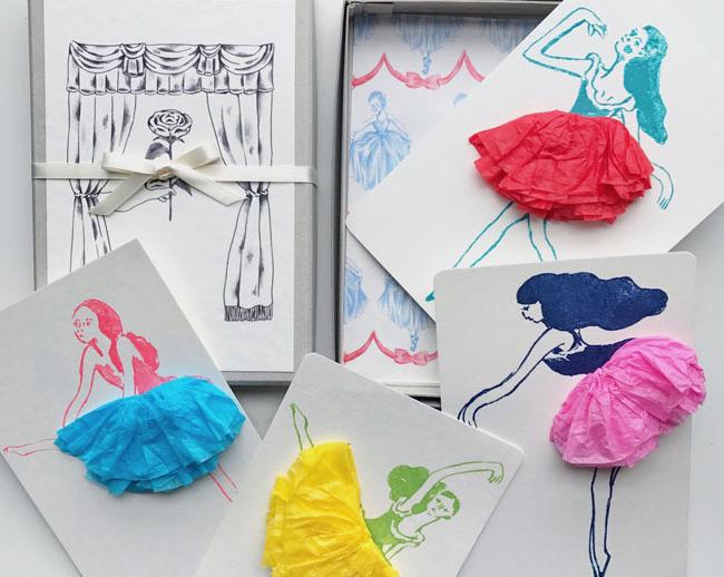 「figpolkadot」の紙雑貨、おしゃれな踊り子のメッセージカード