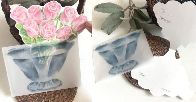 「figpolkadot」の紙雑貨、おしゃれな薔薇のメッセージカード