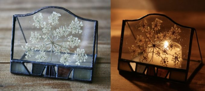 「iri」のステンドグラス雑貨、にんじんの花のキャンドルホルダー