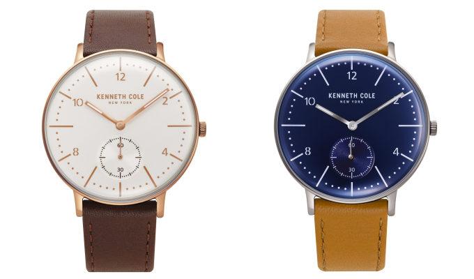 「KENNETH COLE」のクラシックな腕時計、メンズモデル