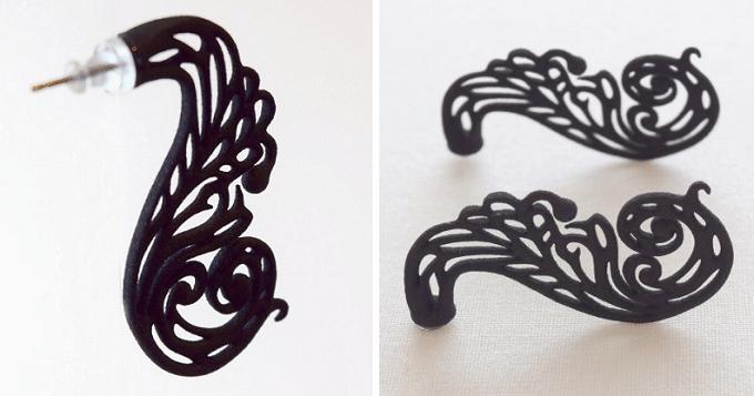 3Dプリントで作った「monocircus(モノサーカス)」の黒のピアス