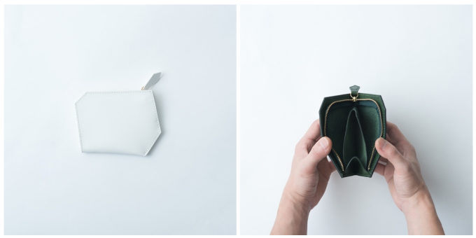 持ちやすく使いやすい「SHOJIFUJITA(ショウジフジタ)」の六角形の革のミニ財布を開けたところ