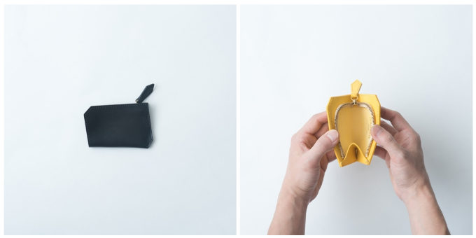 持ちやすく使いやすい「SHOJIFUJITA(ショウジフジタ)」の六角形の革のコインケースを開けたところ