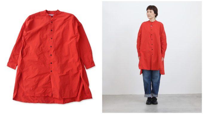 大人女子におすすめ、「OLDMANS TAILOR オールドマンズテーラー」の赤い長袖シャツ