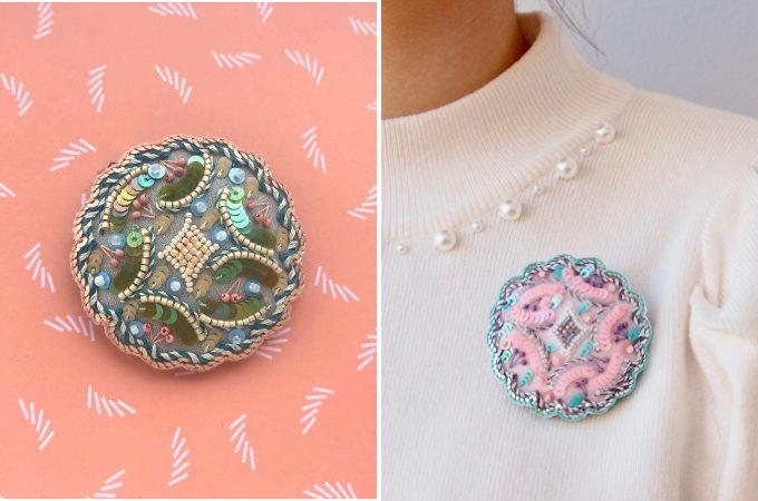 「casumi」のオートクチュール刺繍アクセサリー、ブローチ
