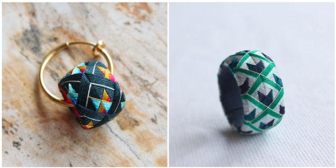 色鮮やかな「thread jewelry Ricca(スレッドジュエリーリッカ)」の加賀ゆびぬきリング、「変わりうろこ」