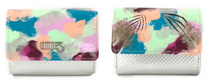 色鮮やかなペイントが施された「OMNES」のおしゃれな革財布、「JUMBLE」