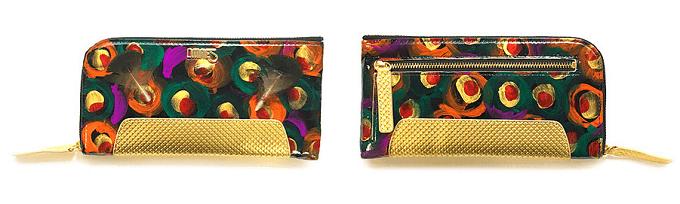 色鮮やかなペイントが施された「OMNES」のおしゃれな革財布、長財布タイプ