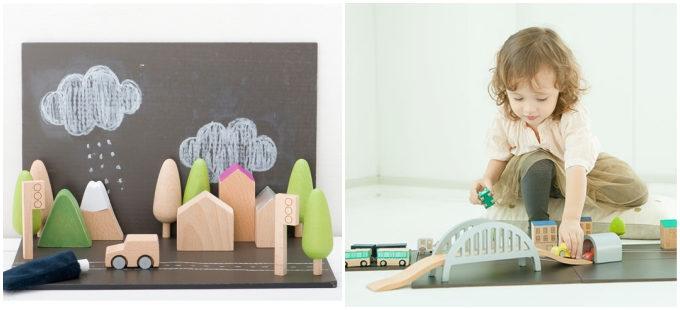 「kiko+」のmachiのおもちゃとそれで遊ぶ子ども