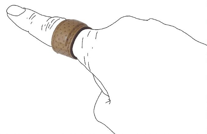 「革式」の絆創膏型レザーリング、ブラウン系、着画