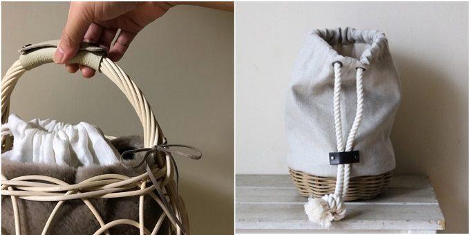 持ち手や紐の留め具に革が使用された「m.snow(エムスノー)」のカゴバッグ