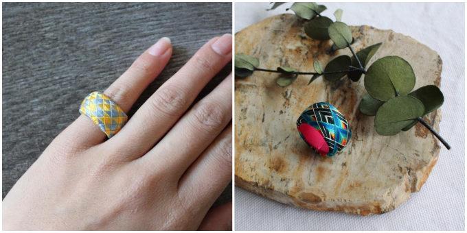 色鮮やかな「thread jewelry Ricca(スレッドジュエリーリッカ)」の加賀ゆびぬきリングの着画