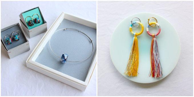 色鮮やかな「thread jewelry Ricca(スレッドジュエリーリッカ)」の加賀ゆびぬきのピアスやネックレス