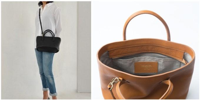 「SHOJIFUJITA(ショウジフジタ)」のシンプルな本革ハンドバッグ、ショルダーストラップ付き