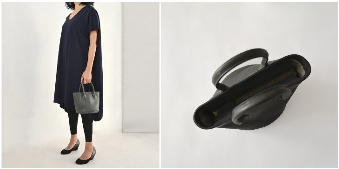 「SHOJIFUJITA(ショウジフジタ)」のシンプルで小さな本革ハンドバッグ、丸底
