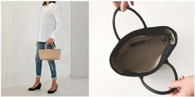 「SHOJIFUJITA(ショウジフジタ)」のシンプルな横長の革ハンドバッグ
