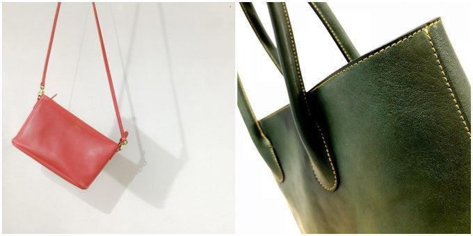 「SHOJIFUJITA(ショウジフジタ)」のシンプルな本革ハンドバッグ、赤と緑