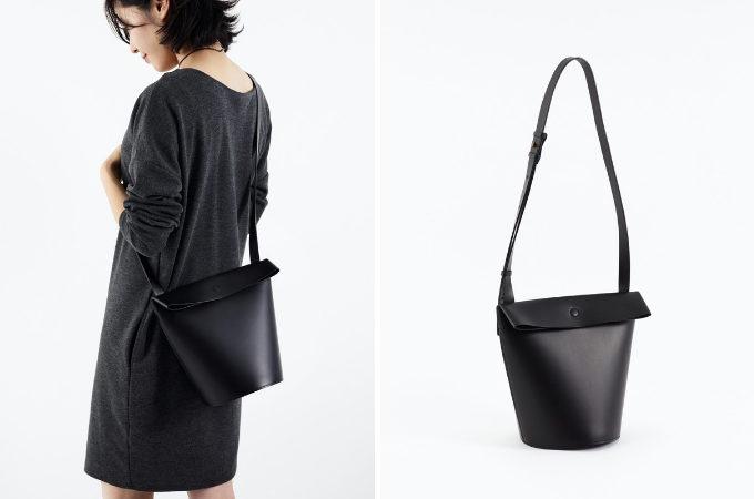 「ke shi ki(ケシキ)」のレザーバッグ、黒のショルダータイプ