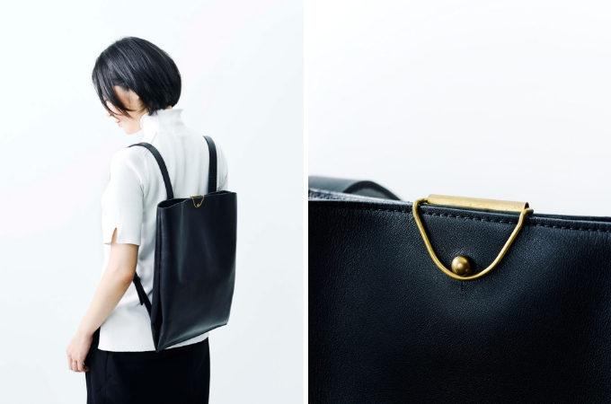 「ke shi ki(ケシキ)」のレザーバッグ、黒のバックパック