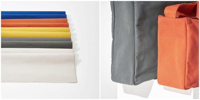 「JOBU(ジョーブ)」の製品に使われる倉敷帆布と、製品の一部