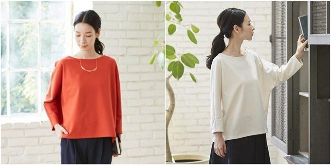 働く女性におすすめの「Kilka」の服、カットソー、赤と白