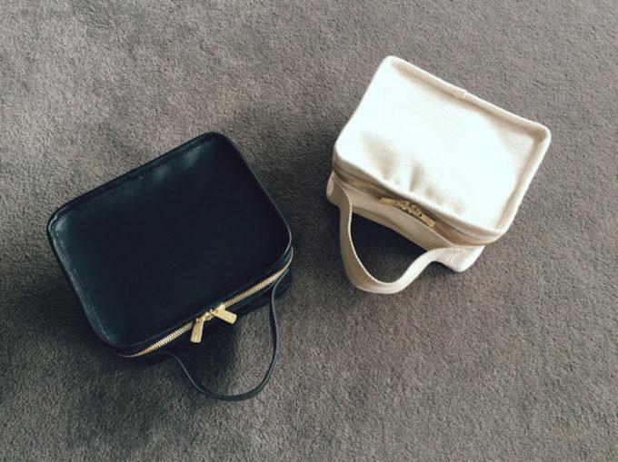 「LIFESTYLIST」の帆布バッグ、生成りと黒
