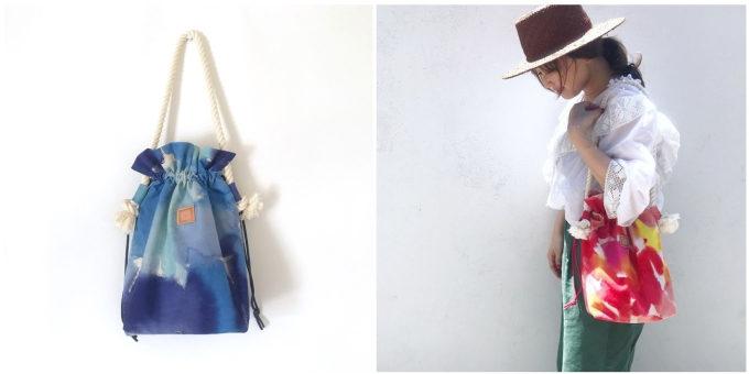 「HOLLY GRANT PATTERN(ホリーグラントパターン)」の巾着バッグ、青と赤