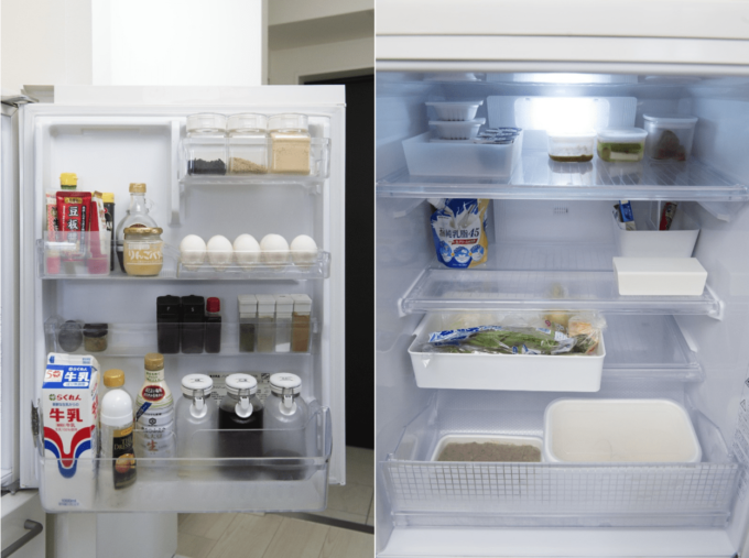 冷蔵庫の中の収納例