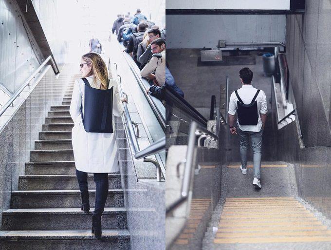 ノートパソコンの持ち歩きにおすすめのバックパック「LIO」を背負って歩く人2