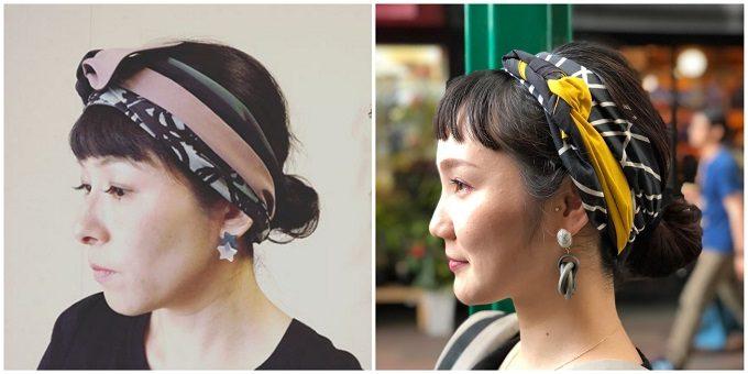 春におすすめ、肌触りの良い「mercerie(メルスリー)」のヘアターバンの着用例
