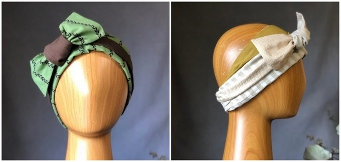 春におすすめ、肌触りの良い「mercerie(メルスリー)」のヘアターバン、ストライプ柄