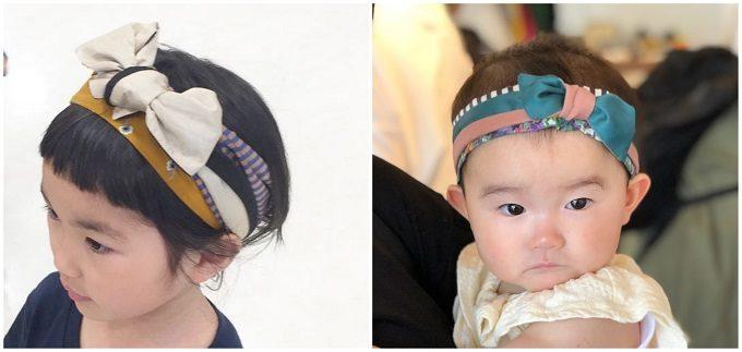 春におすすめ、肌触りの良い「mercerie(メルスリー)」のヘアターバン、子どもの着用例