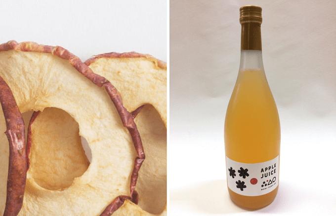 青森県弘前市にある「もりやま園」の干しりんごとりんごジュース
