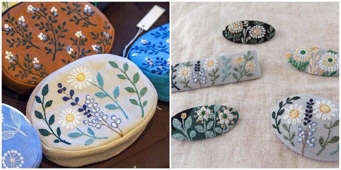 足踏みミシン刺繍が施「nui+(ヌイ)」のポーチとヘアアクセサリー