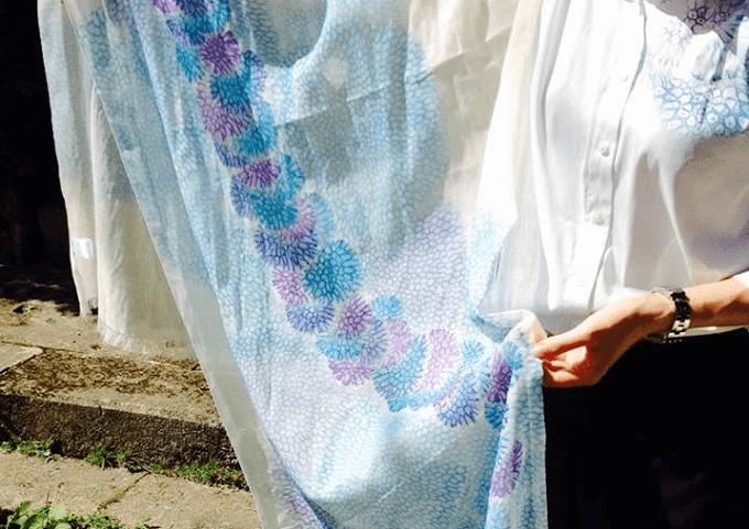 「首里琉染(しゅりりゅうせん)」のサンゴ染の布