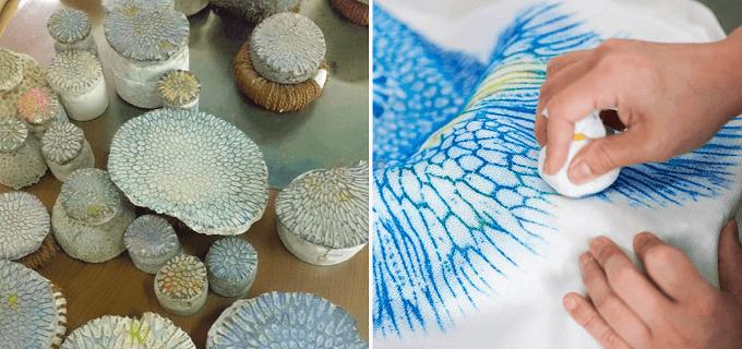 沖縄の染物研究所「首里琉染」で体験できるサンゴ染の様子3