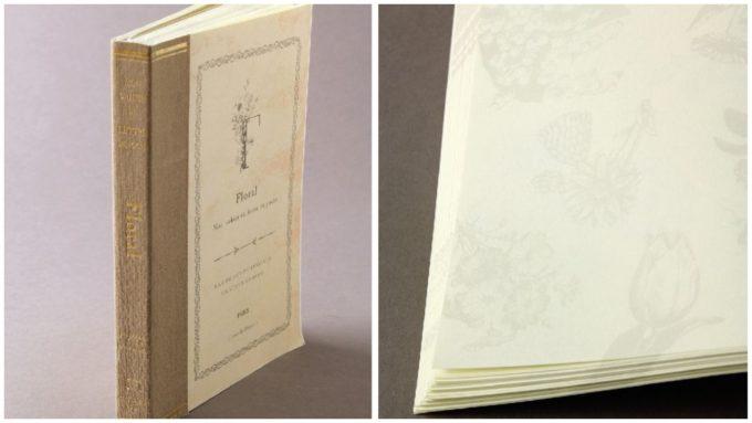 本のようなデザインの「ラフノート」、「フローラル」