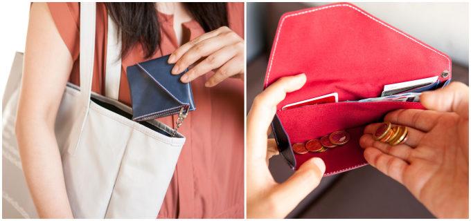 長財布と二つ折り財布の利点を持ち合わせるお財布、ブルーとレッド