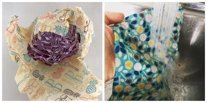 「Bee's Cotton Wrap(ビーズコットンラップ)」のエコラップの使用例とお手入れ方法