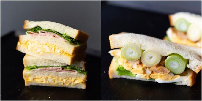 渋谷「hotel koe tokyo」のおすすめサンドイッチ、「ハムたまサンド」と「てりたま焼きねぎサンド」