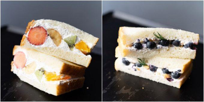 渋谷「hotel koe tokyo」のおすすめサンドイッチ、「フレッシュフルーツサンド」と「ブルーベリー&クリームチーズサンド」