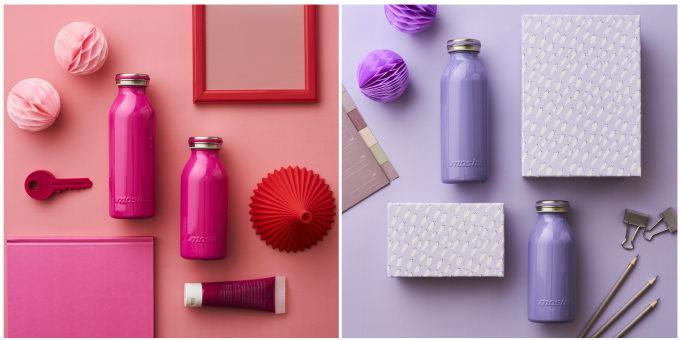 「mosh!」の牛乳瓶型ステンレスボトル、ピンクとパープル