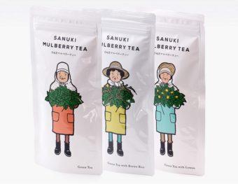 パッケージのモデルは作り手のおばちゃん。香川の「西森園」が作るやさしい味わいの桑の葉茶