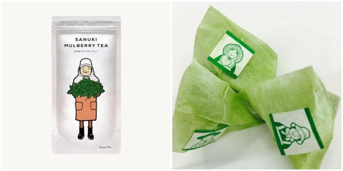 香川の「西森園」が作る「さぬきマルベリーティー」のパッケージとティーバッグ