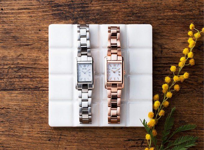「SPICA」の新作腕時計「スクエアソーラー」、メタルブレスタイプ