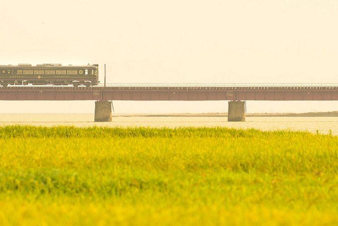 丹後鉄道の「丹後あかまつ号」と花畑