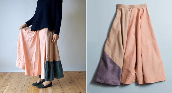 衣料品店「渦~uzu~」のボトムス、ハンドステッチスカート