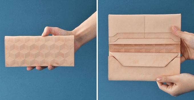 幾何学模様の入った「CONCUSSION」の革の長財布