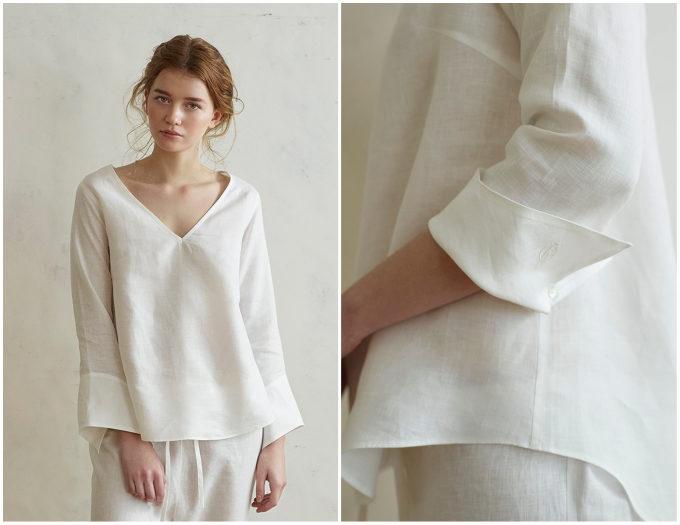 ルームウェアにおすすめのリネンのプルオーバーシャツが「GRAND FOND BLANC(グラン フォン ブラン)」2