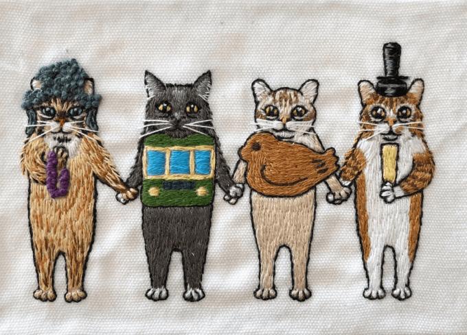 「にゃん吉ドーナツ」の猫刺繍